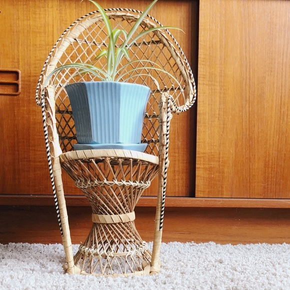 Vintage peacock chair wicker woven planter doll